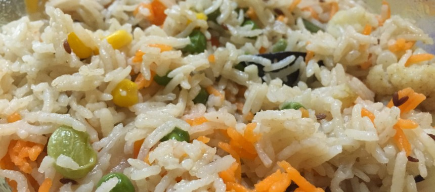 Vegetable Pulao (Mildly spiced Vegetable Rice)